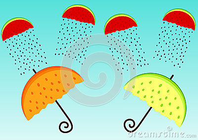 Greeting card with fruit umbrellas and clouds
