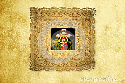 Greeting card,funny angel in old frame