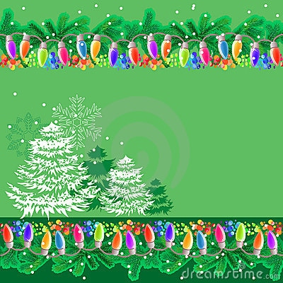 Greeting card with garland