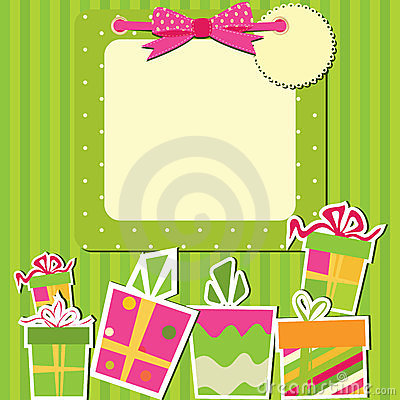 Greeting card with gift boxes