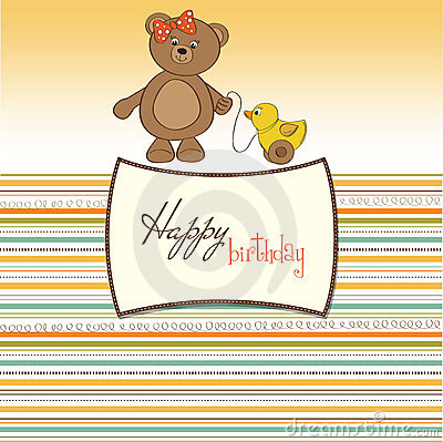 Greeting card with girl teddy bear and he