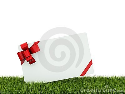 Greeting card on grass