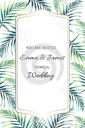 Greeting card with tropical jungle palm tree leaves on white background. Card for wedding, birthday and other holiday. Vector Illustration