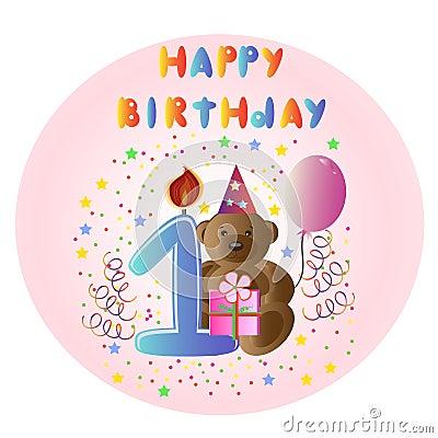Greeting card Happy Birthday with bear