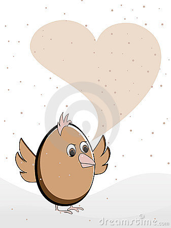 Greeting card heaving a bird with copy space.