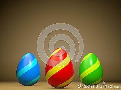 Greeting card illustrating three easter eggs