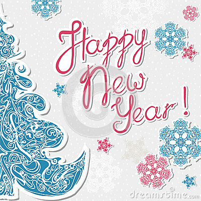 Greeting Card With Letters Happy New Year Multicolor
