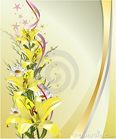 Greeting card with lilies