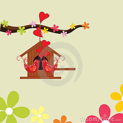 Greeting card with love birds