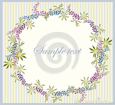 Greeting card with lupine . Beautiful decorative f