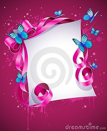 Greeting card with pink bow and blue butterfly