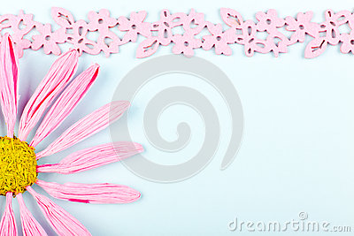 Greeting card with pink flower
