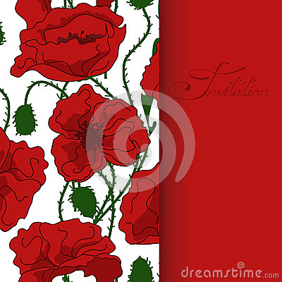 Greeting card with poppy flowers pattern