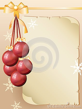 Greeting card and red christmas balls