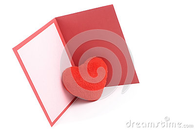 Greeting card and red heart