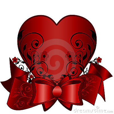 Greeting card with red ribbon