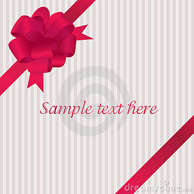 Greeting card with red satin bow