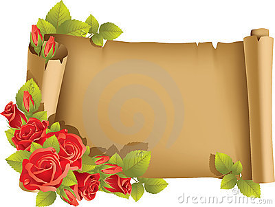 Greeting card with rose and scroll - horizontal