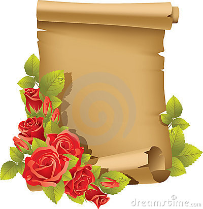 Greeting card with rose and scroll - vertical