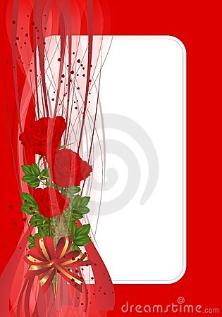 Greeting card with roses, cdr vector