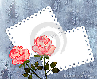 Greeting card with roses on the frosty background