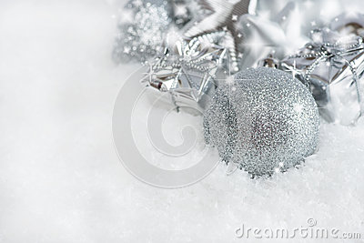 Greeting card. Silver Christmas decorations