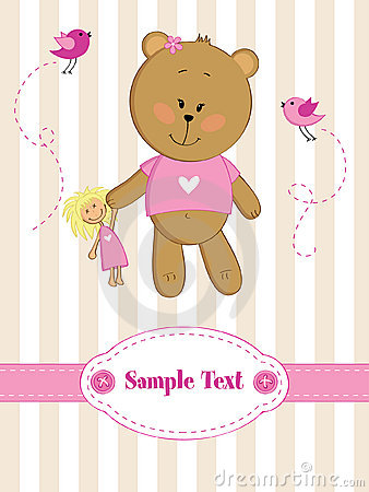 Greeting card with teddy bear