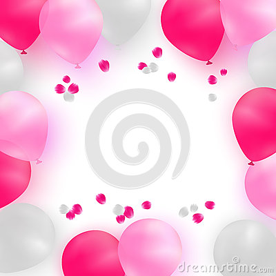 Free Greeting Card Template For Wedding, Birthday, Mothers Day. White And Pink Balloons On White Background With Rose Petals. Royalty Free Stock Image - 71513216