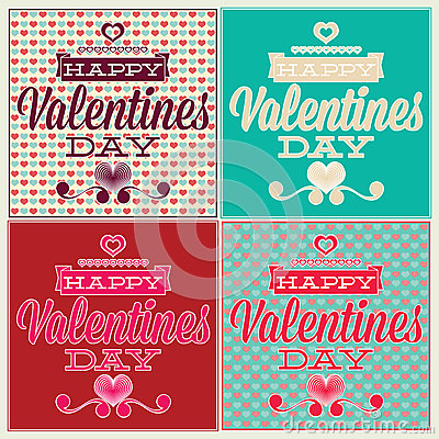 Greeting card for Valentines Day. Set and seamless