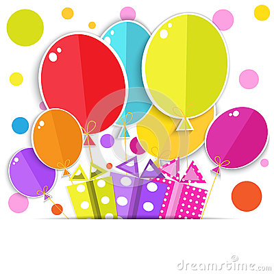 Free Greeting Card With A Gift Boxes And Balloons. Royalty Free Stock Photo - 39823135