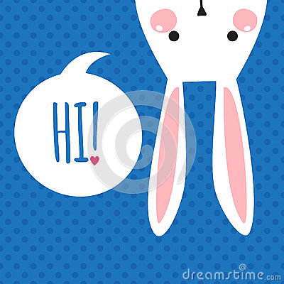 Free Greeting Card With Funny Bunny. Easter Bunny Ears. Royalty Free Stock Photos - 49686788