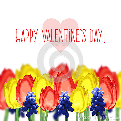 Free Greeting Card With Tulips, Mouse Hyacinth And Text Happy Valentine S Day Stock Images - 48697874