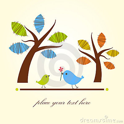 Free Greeting Card With Two Birds Under Tree Royalty Free Stock Image - 15940196