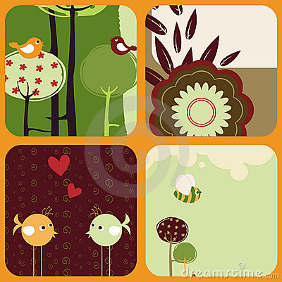 Greeting cards with retro-style birds and trees