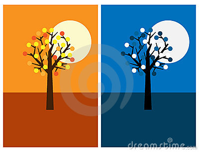 Greeting cards with tree, night and day