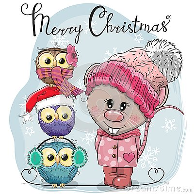 Free Greeting Christmas Card Cute Rat And Three Owls Royalty Free Stock Image - 141158546