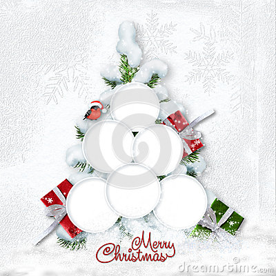 Free Greeting Christmas Card With Snowy Tree And Frames For Family Royalty Free Stock Photography - 82688757