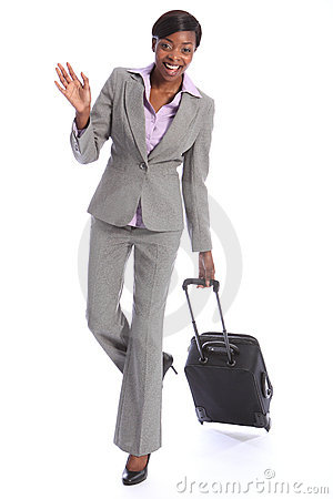 Greeting from happy black woman on business travel