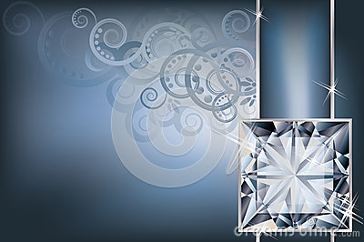 Greeting invitation card with diamond