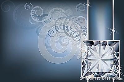 Greeting invitation card with diamond