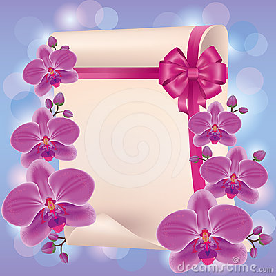 Greeting or invitation card with purple orchid