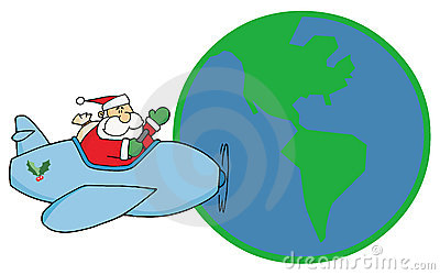 Greeting with santa flying around earth