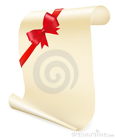 Greeting scroll with red bow.