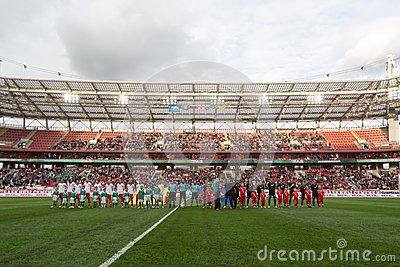 Greeting teams on game Russian team against Northern Ireland Editorial Stock Photo