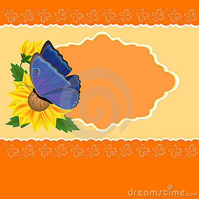 Greetings card with sunflower and butterfly