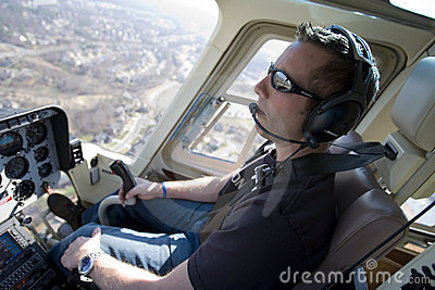 Greg Biffle pilots his helicopter Editorial Stock Image