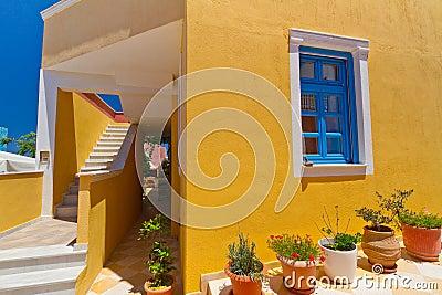 Grekisk arkitektur av den Santorini ön