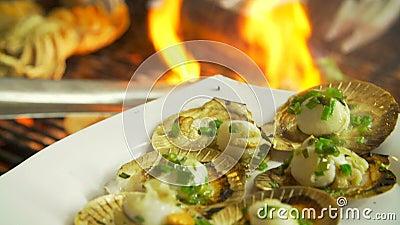 Grelhando moluscos em um fogo aberto video estoque