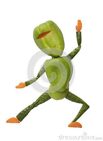 Free Gren Vegetable Ninja In Funny Pose Stock Images - 62596824