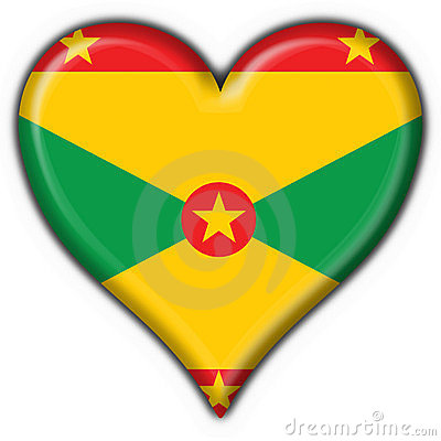 Grenada button flag heart shape
